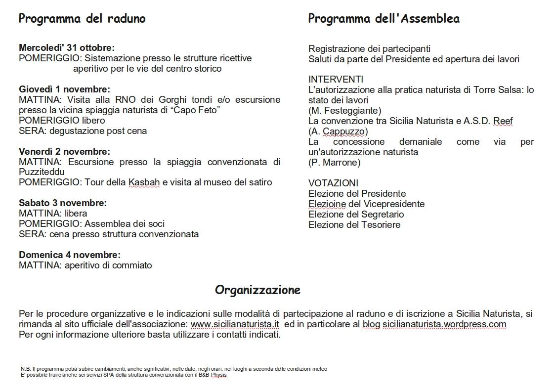 programma dell'assemblea dei nudisti e naturisti siciliani